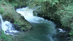 Waterfall and River Rapidly Flowing - stock footage