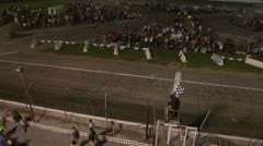 Sprint Car Checkered Flag Finish Stock Footage