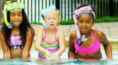 Pretty Multi Ethnic Children Playing Swimming Pool Stock Footage