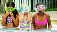 Laughing Multi Ethnic Girls Swimming Pool Slow Motion Stock Footage