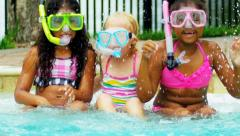 Young Children Enjoying Water Outdoors Slow Motion - stock footage