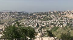 Jerusalem Israel from the Mount of Olives Stock Footage