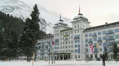 A large snowbound hotel is elegant and imposing. Stock Footage