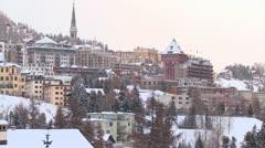 Establishing shot of the town of St. Moritz, Switzerland in winter. Stock Footage