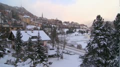 Establishing shot of the town of St. Moritz, Switzerland in winter. Stock Footage