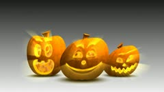 Halloween pumpkins having fun, loop Stock Footage