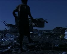 Dump site kid and small box Stock Footage