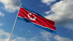 The North Korean flag Stock Footage