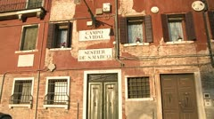 The facade of old buildings in Venice, Italy. Stock Footage
