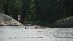 Canoeist on Baltic Sea Stock Footage