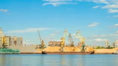 Unloading of barges in the port Stock Footage