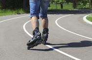 A man on roller skates in stadium Stock Photos
