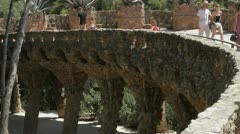 Park Güell bridge Stock Footage