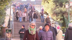 A time lapse of crowds crossing the Academia Bridge in Venice, Italy. Stock Footage