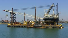 Dutra Harbor Dredging Barge 1- Long Beach CA Stock Footage