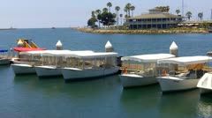Electric Powered Sight-Seeing Boats- Long Beach CA - stock footage