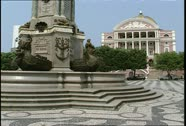 Stock Video Footage of Manaus Teatro Amazonas Plaza Monument in Foreground