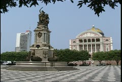 Manaus Teatro Amazonas Plaza Wide Shot Stock Footage