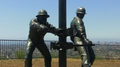 Tribute To The Roughnecks Sculpture- Signal Hill CA - stock footage