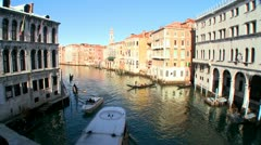 Boats move along the Grand Canal in Venice, Italy. Stock Footage