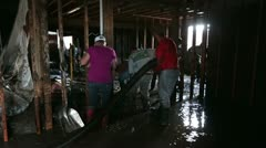 Flood home damage cleanup water mud pump P HD 2095 Stock Footage
