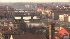 The Ponte Vecchio and skyline of Florence, Italy. Stock Footage