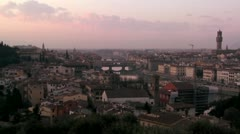 Time lapse dusk clouds moving over Florence, Italy. - stock footage