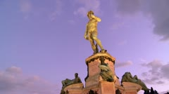State of David at dusk in Florence, Italy. Stock Footage