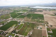 Aerial view of farmland Stock Photos