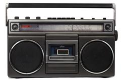 Cassette deck with radio and recorder - stock photo