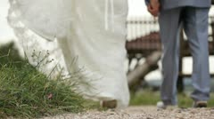 Newly weds walking hand in hand Stock Footage