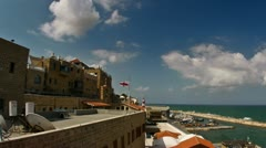 Jaffa harbor cloud timelapse 0611 Stock Footage