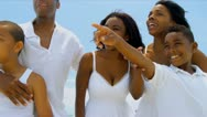 Summer holiday of diverse lucky family walking and relaxing on beach   Stock Footage