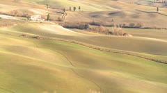 Rolling hills and fields in Tuscany, Italy. Stock Footage