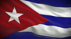 Highly detailed Cuban flag ripples in the wind. Looped - stock footage