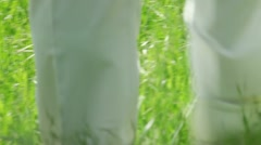 Newly weds on green grass Stock Footage