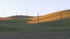 A solitary row of telephone poles stands against a hill. Stock Footage