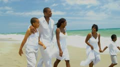 Diverse children spending time with parents enjoying the beach   - stock footage