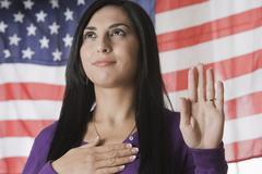Turkish woman swearing the Pledge of Allegiance Stock Photos