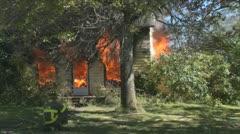 Stock Footage - Emergency Scene - Intense fire - zoom inside front door Stock Footage