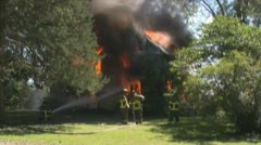 Stock Footage - Emergency Scene - wide shot of house fire - Intense ! Stock Footage