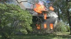 Stock Footage - Emergency Scene - Intense fire - med shot - flames, smoke Stock Footage