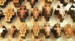 Hundreds of souvenir crosses hang in a gift shop at a Christian holy site. Stock Footage