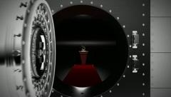 Bank Vault opens to reveal Silver Dollar Symbol. Stock Footage