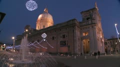 Christmas decorations around an Italian church square. Stock Footage