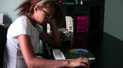 Homeschool Student Dreading Geometry Stock Footage