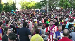 Estadio Vicente Calderon before match Copa Del Rey Final 2012 08 Barca Fans h Stock Footage