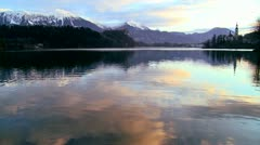 Dawn at Lake Bled, Slovenia. Stock Footage
