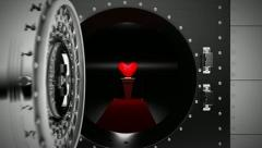 "Bank Vault opens to reveal Red Heart with ""My Love"" text Stock Footage"