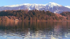 The beautiful shores of Lake Bled, Slovenia resemble Colorado. - stock footage